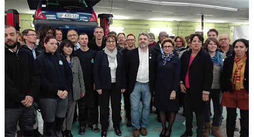 Martine Pinville en visite au Pôle mobilité du Havre