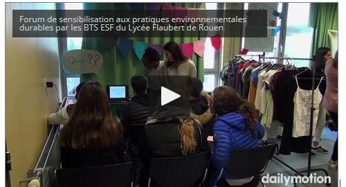 Vidéo : Forum de sensibilisation aux pratiques environnementales durables par les BTS ESF du Lycée Flaubert de Rouen